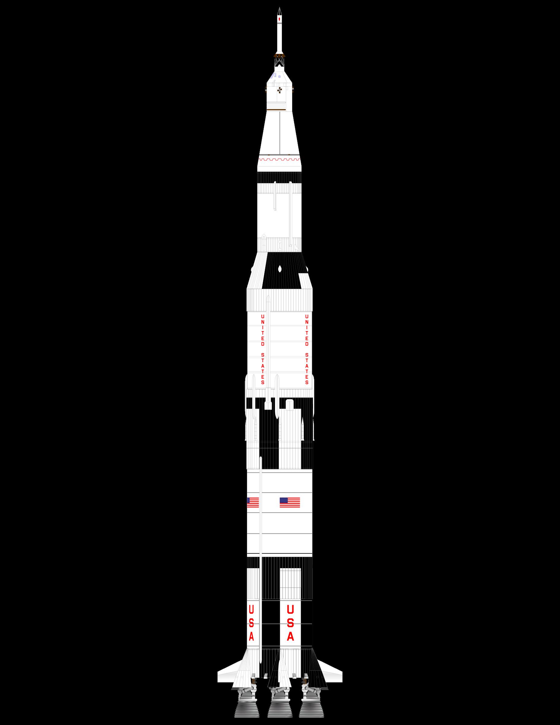 Clipart rocket vector. Saturn v by charner