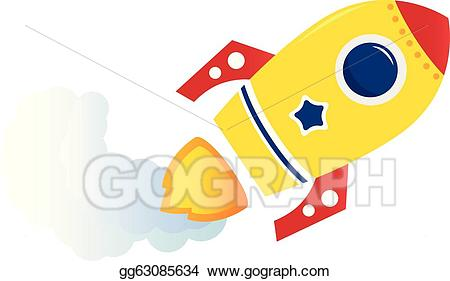 Clipart rocket yellow rocket. Vector flying cartoon isolated