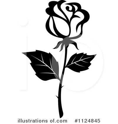 Clip art black and. Clipart rose