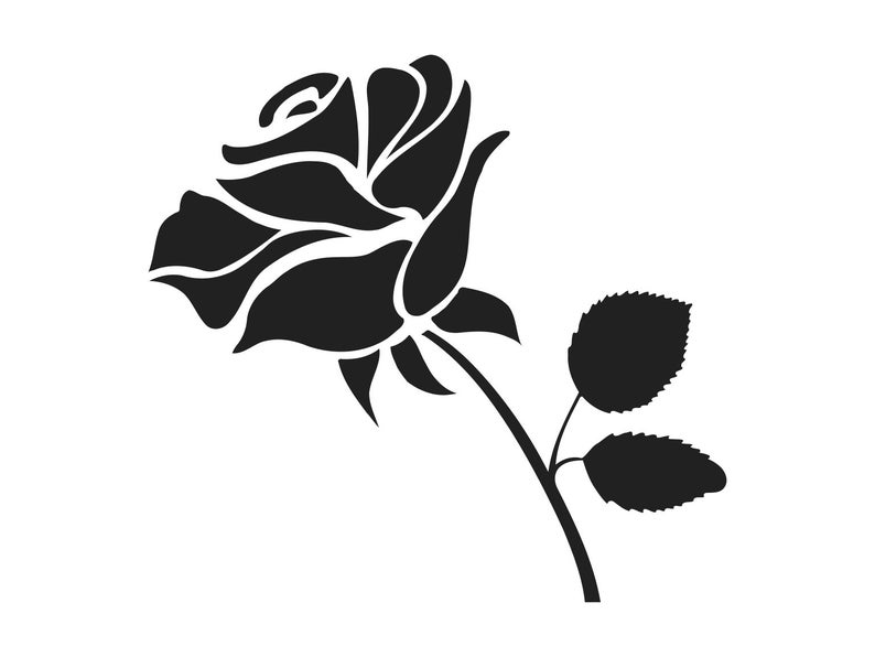 Svg clip art silhouette. Clipart rose