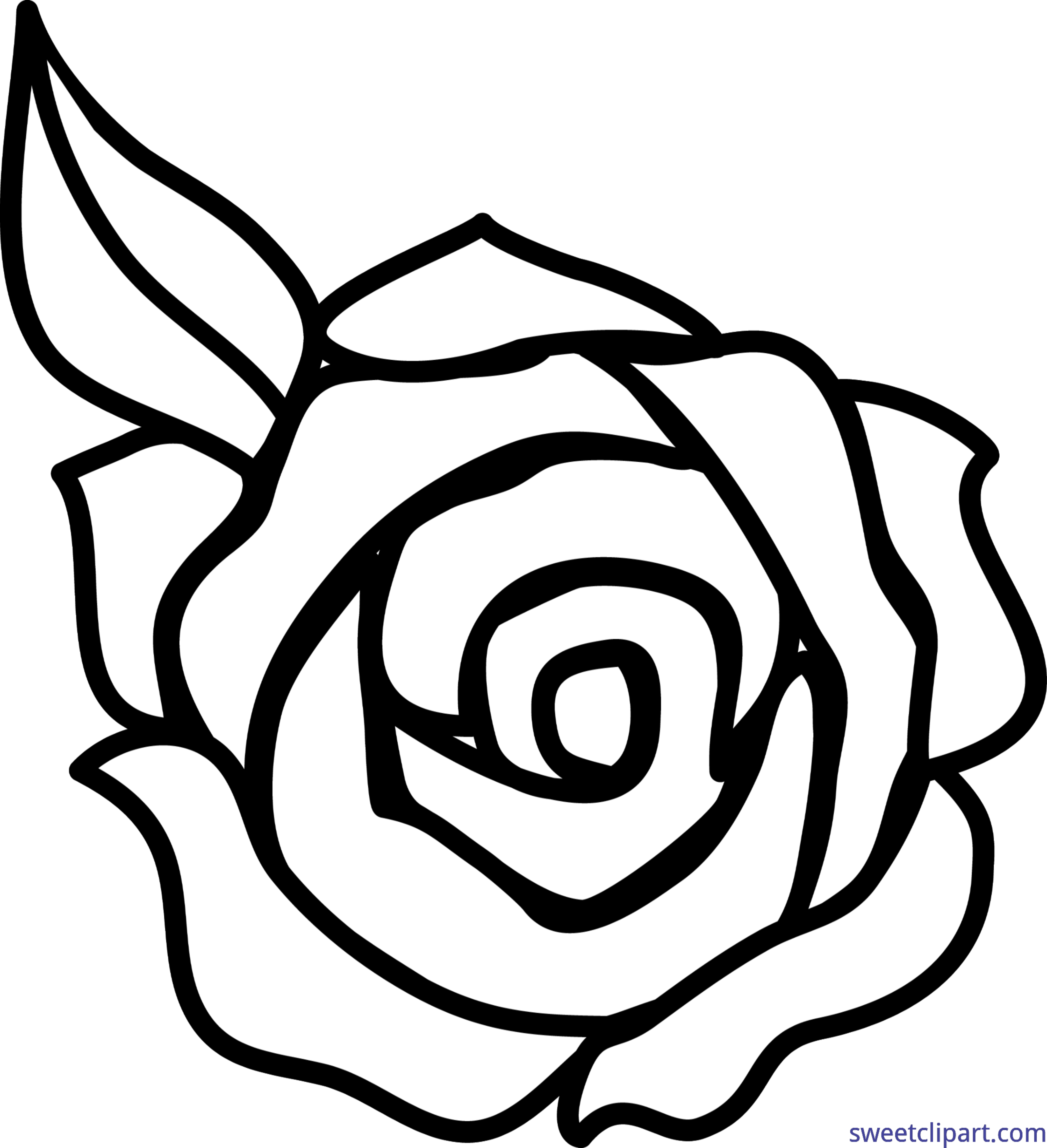 Clipart rose black and white. Lineart clip art sweet