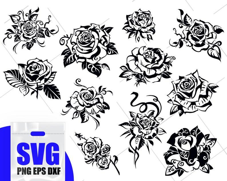 Roses svg flower vector. Clipart rose blossom