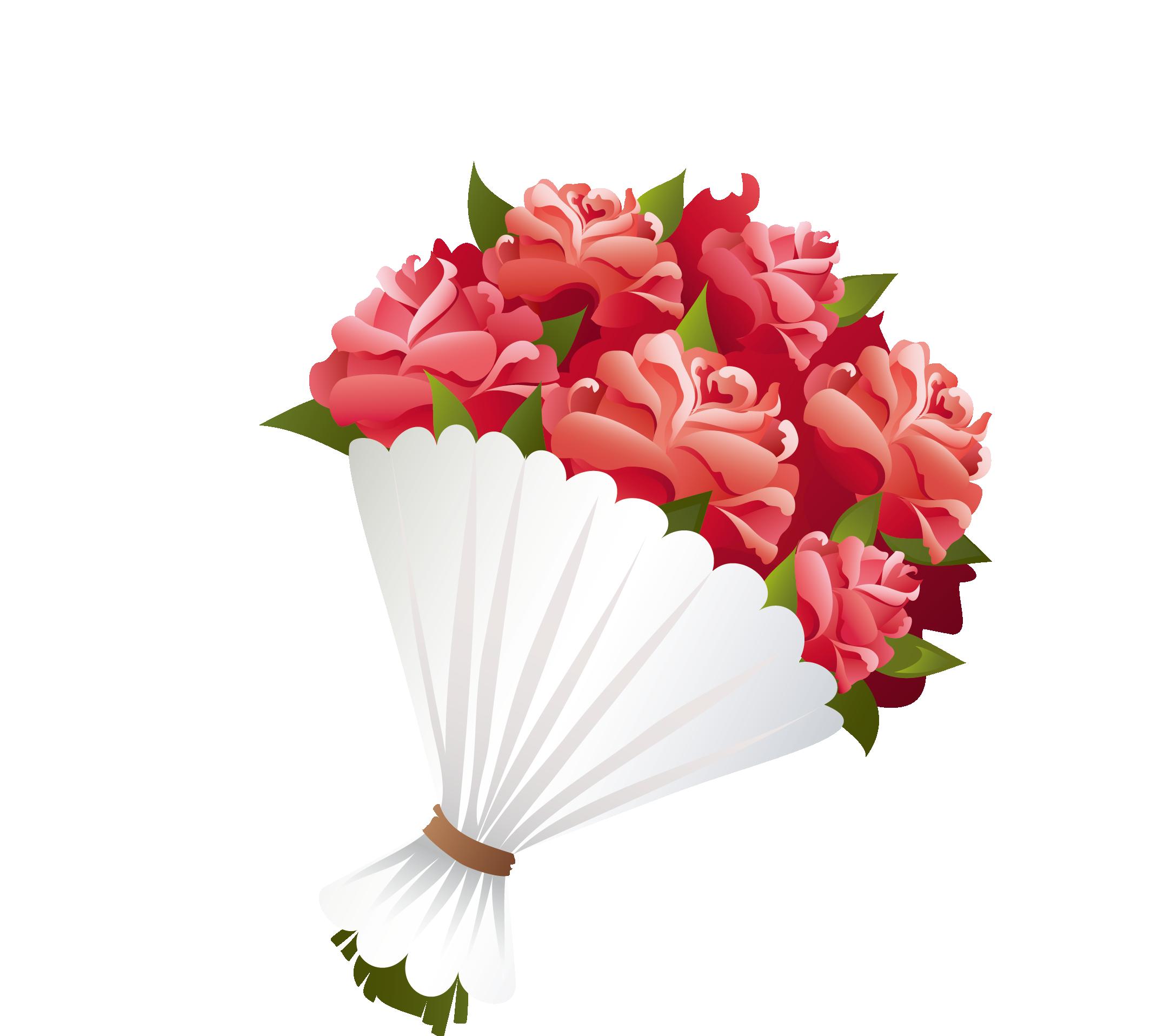 Flower clipart cartoon. Bouquet clip art red