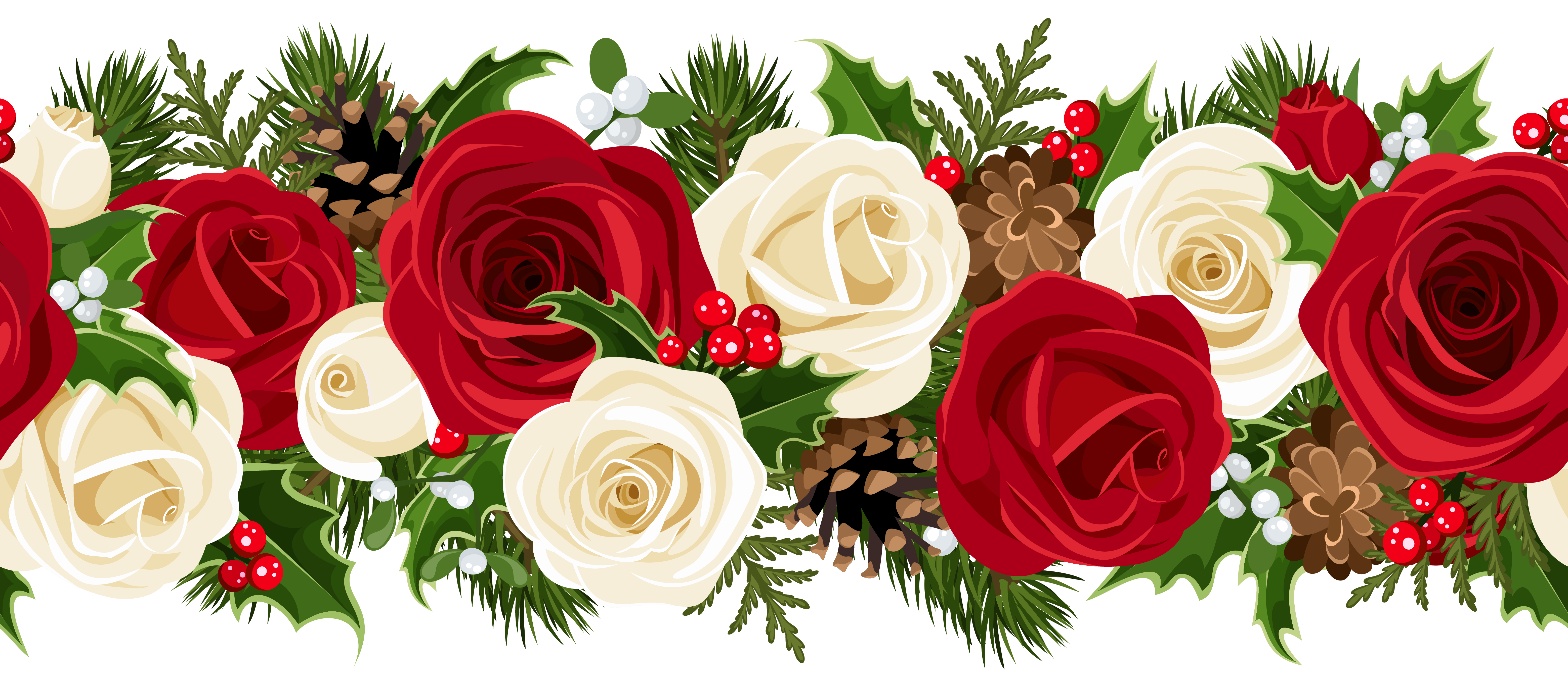 Christmas rose clip art. Flower garland png