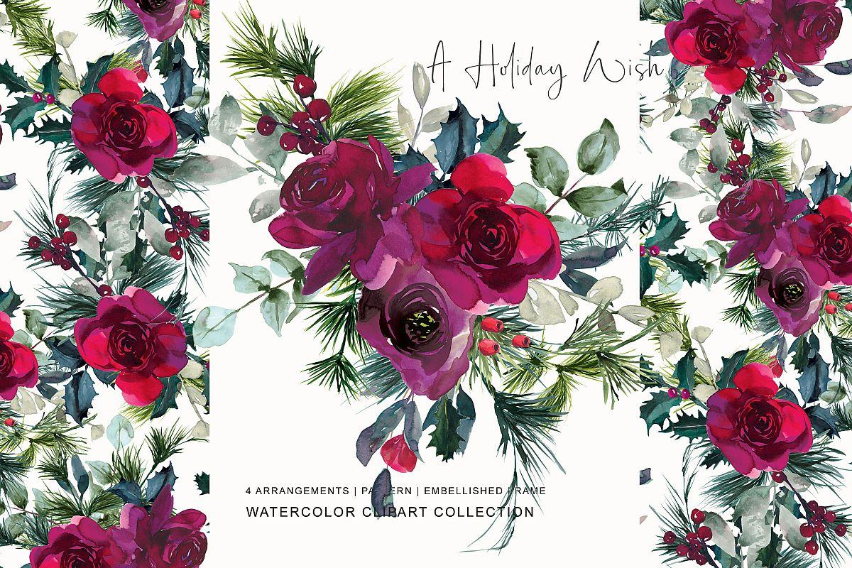 Watercolor burgundy rose . Clipart roses christmas