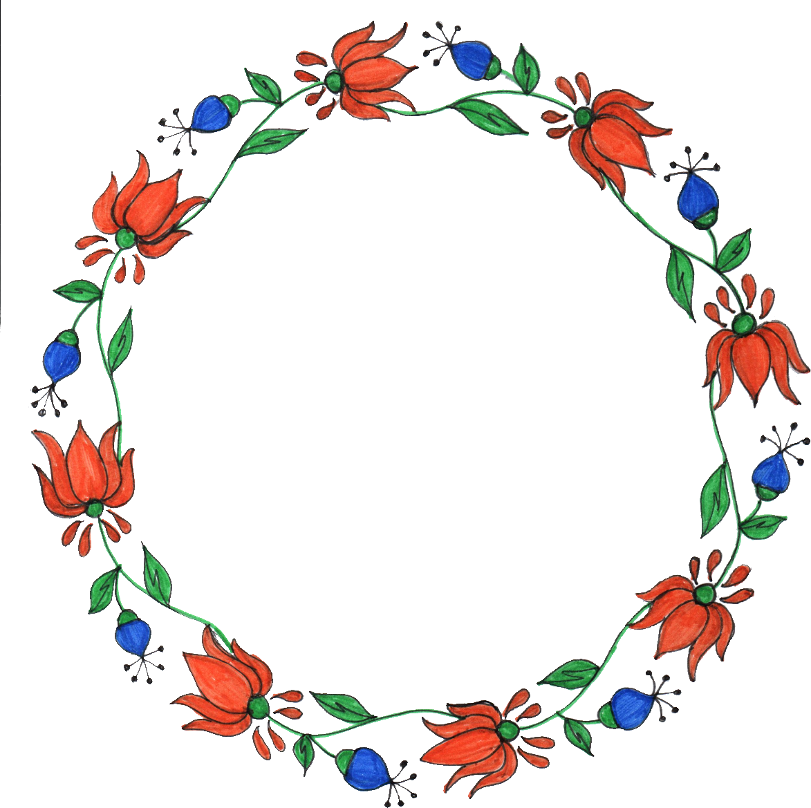 collection of flower. Clipart rose circle