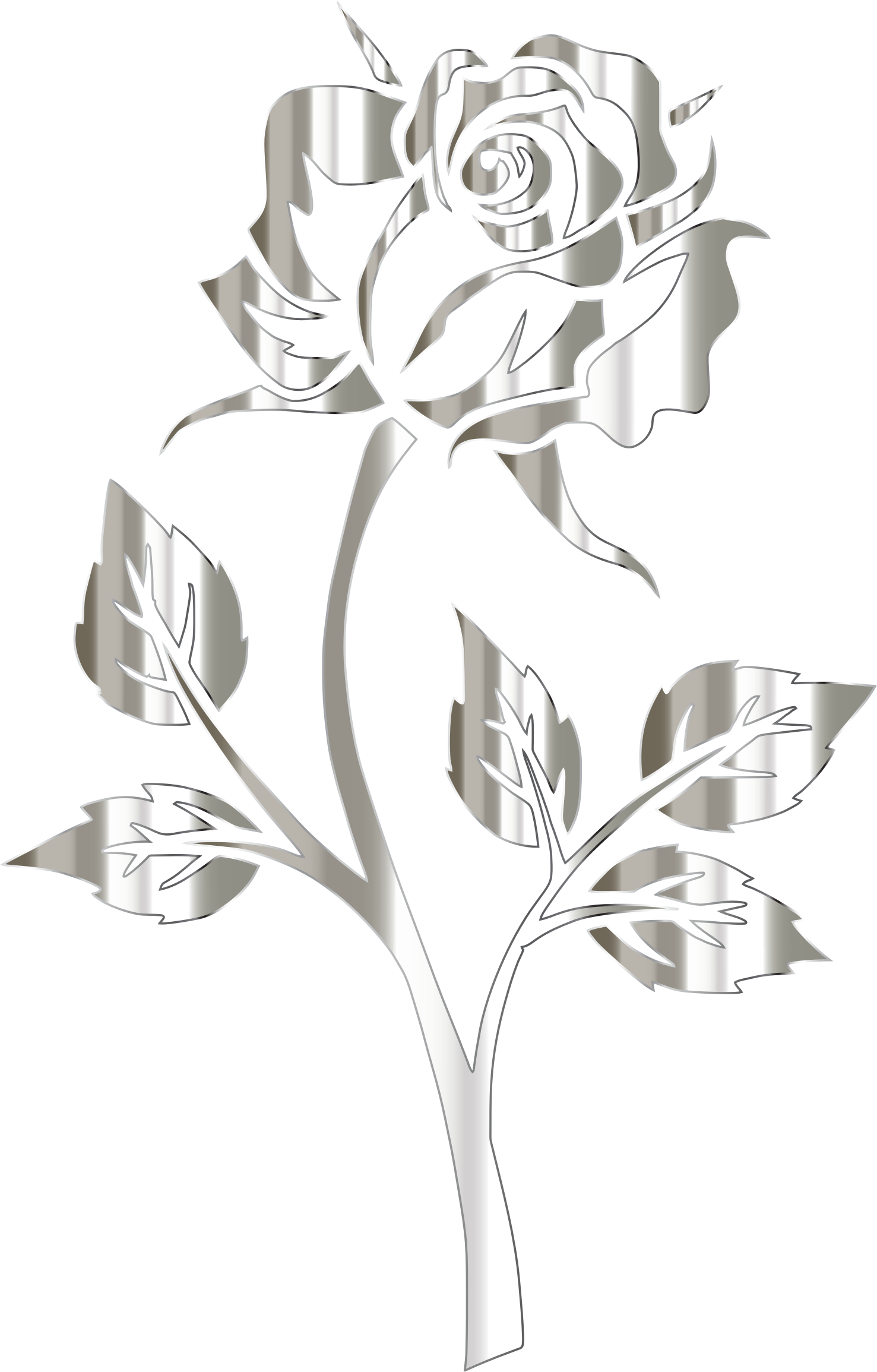 Clipart rose clear background. Image polished silver silhouette