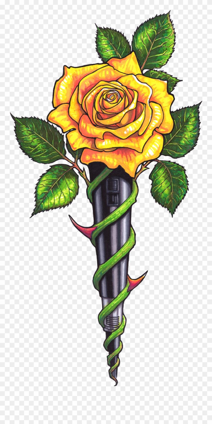 Yellow beautiful art png. Clipart rose cross