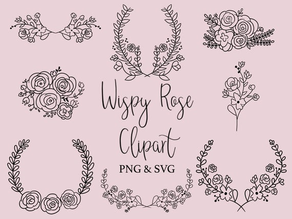 Wispy hand drawn wreaths. Clipart rose doodle