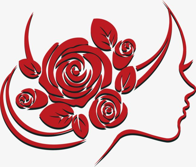 Clipart rose face. Vector woman shape paper