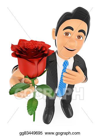 Clipart rose giving. Stock illustration d businessman