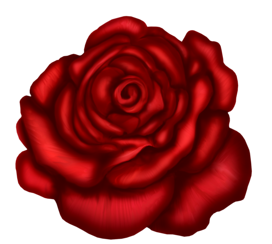 Red rose art picture. Clipart roses head