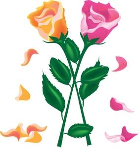 Roses petals clipartix . Clipart rose kid