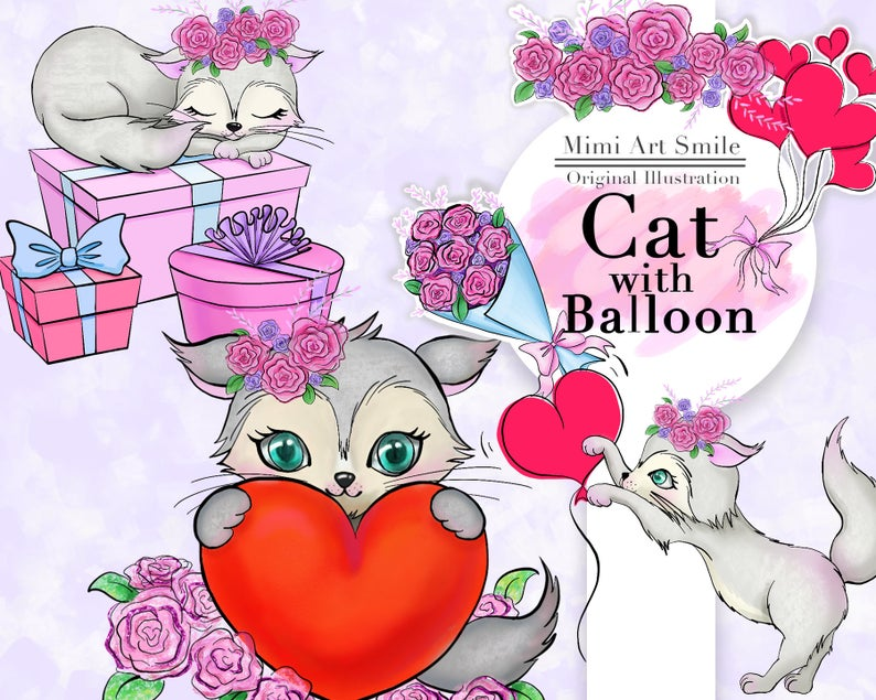 Cat with balloon flowers. Clipart rose kitty