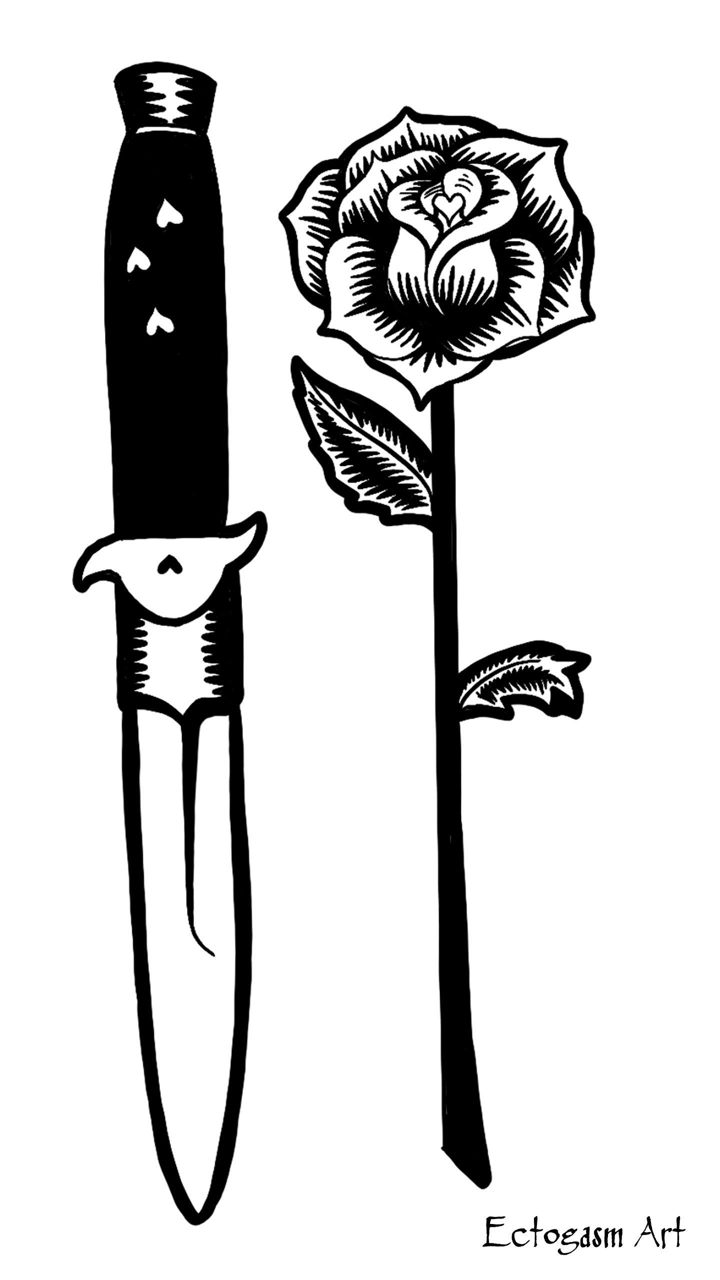 White and tattoo phone. Clipart rose knife
