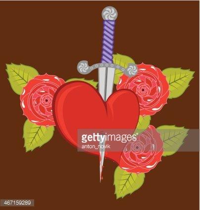 Clipart rose knife. Heart roses premium clipartlogo