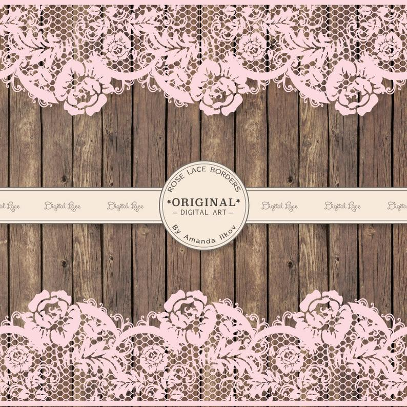 Extra wide pink wedding. Clipart rose lace