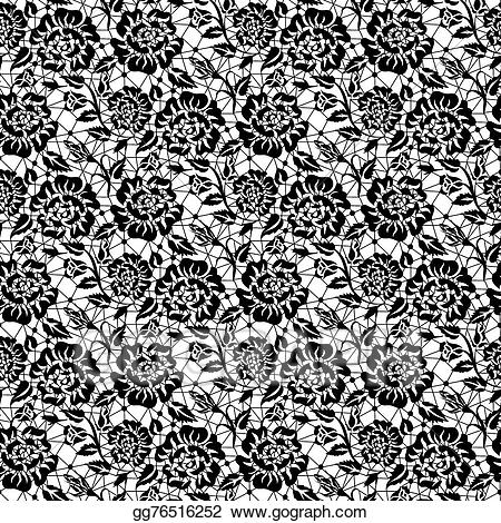 Lace clipart rose. Vector stock black illustration