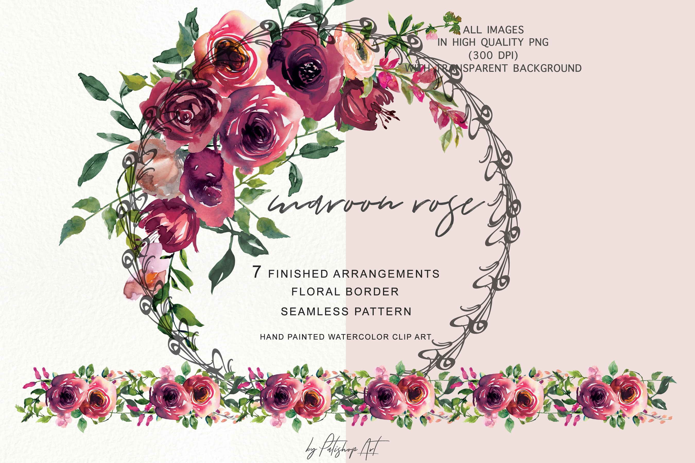 Watercolor rose floral bouquet. Clipart roses maroon