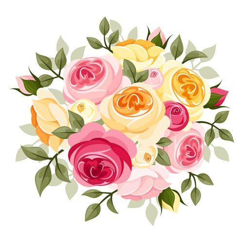 Yellow miniature roses vintage. Clipart rose mini rose
