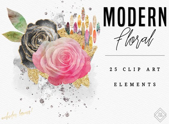 Water color flower watercolor. Clipart rose modern