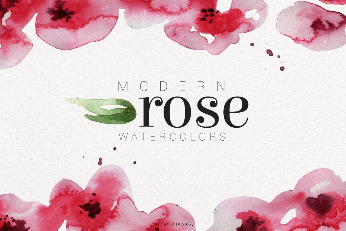Clipart rose modern. Watercolor flower