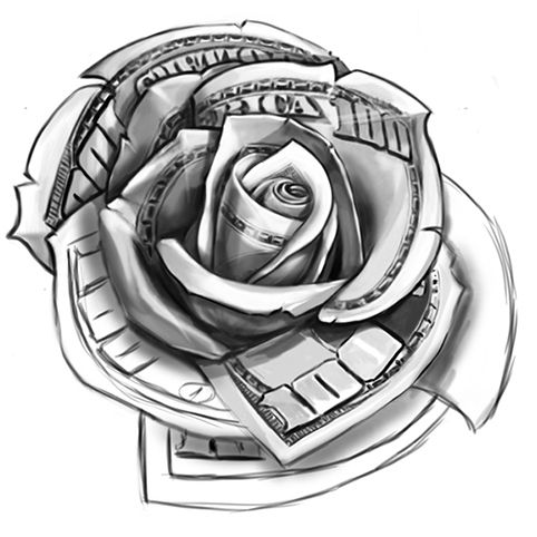 Clipart rose money.