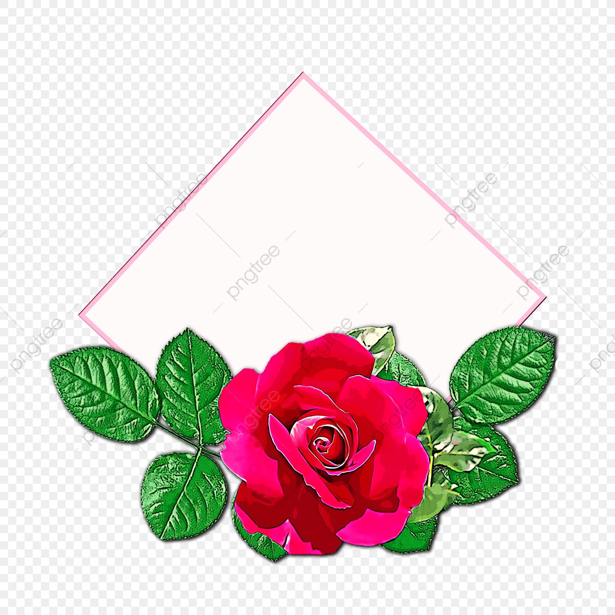 Painted flowers with red. Clipart rose natural
