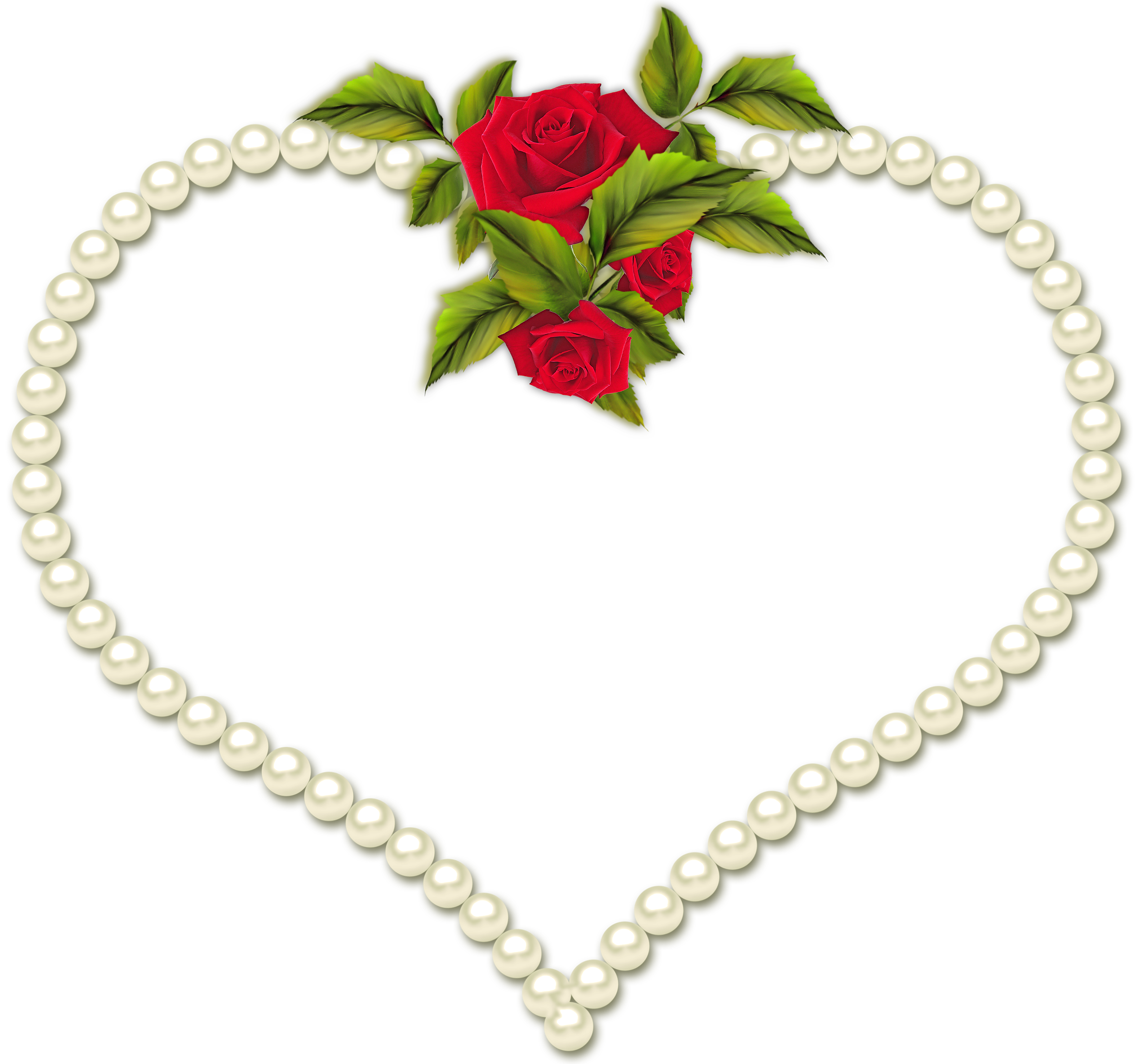 Pearl transparent with roses. Heart frame png