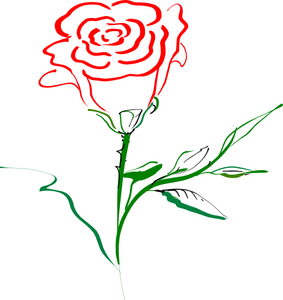 Red rose silhouette at. Clipart roses beauty and the beast