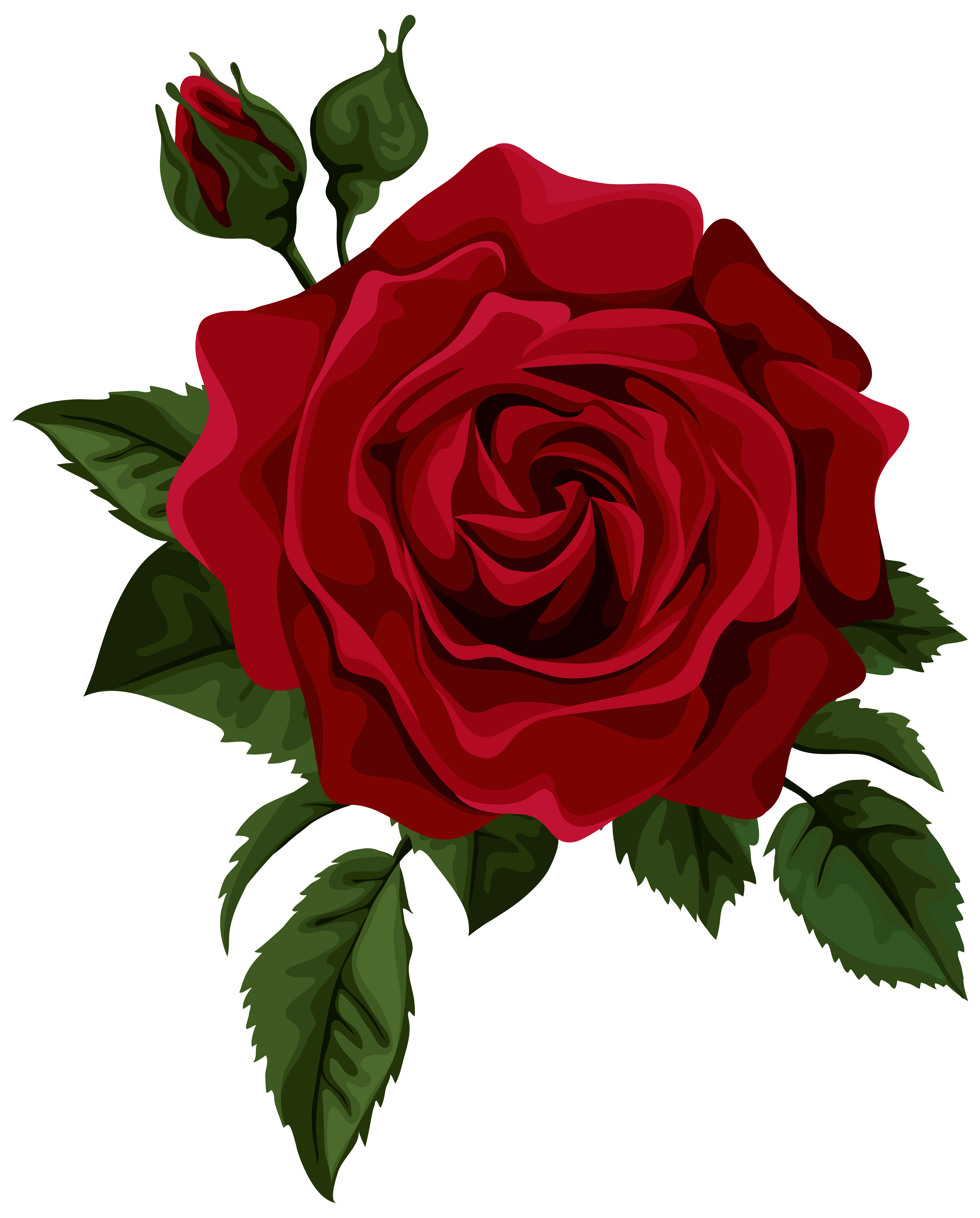 Red rose with bud. Clipart roses embroidery