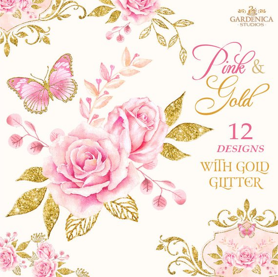 Clipart rose rose gold. Pink and watercolor flowers