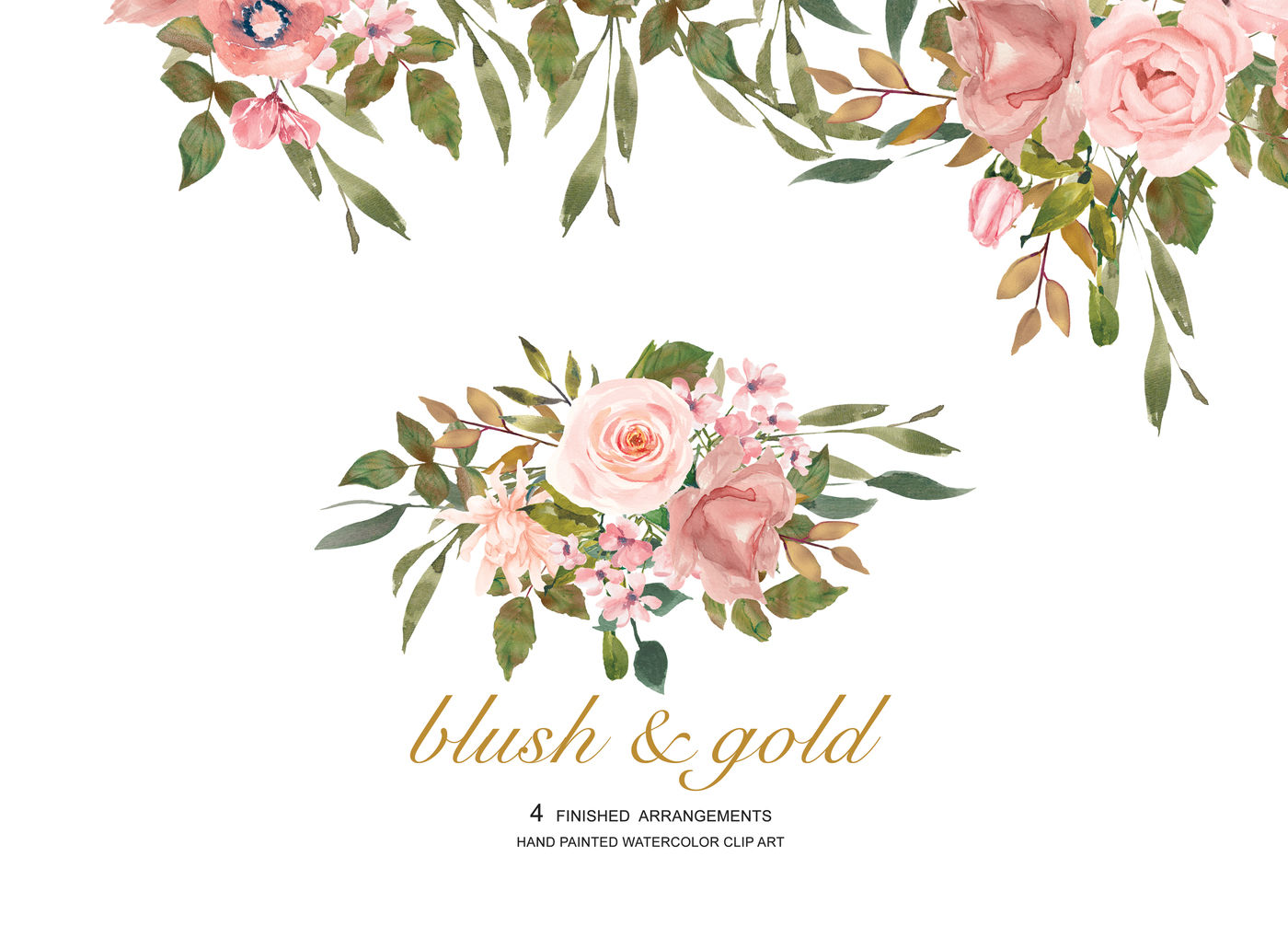 Watercolor flower blush leaves. Clipart rose rose gold