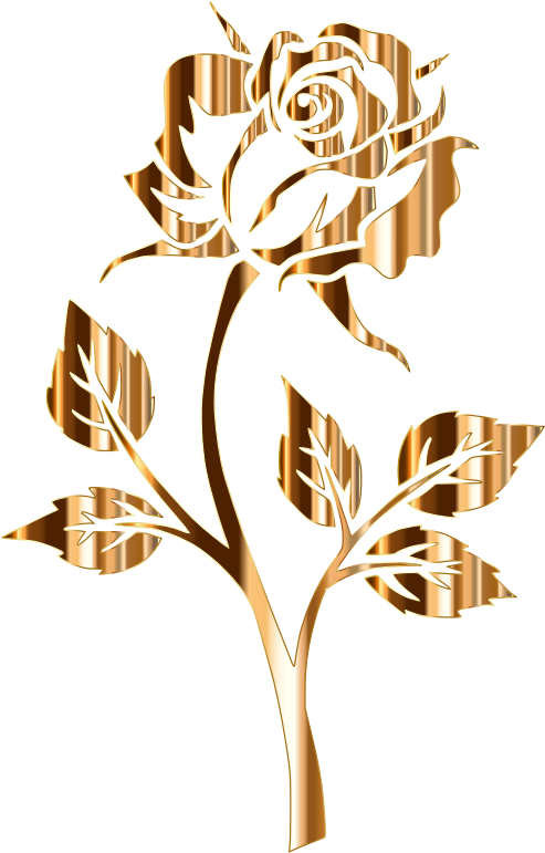 Silhouette no background medium. Clipart rose rose gold