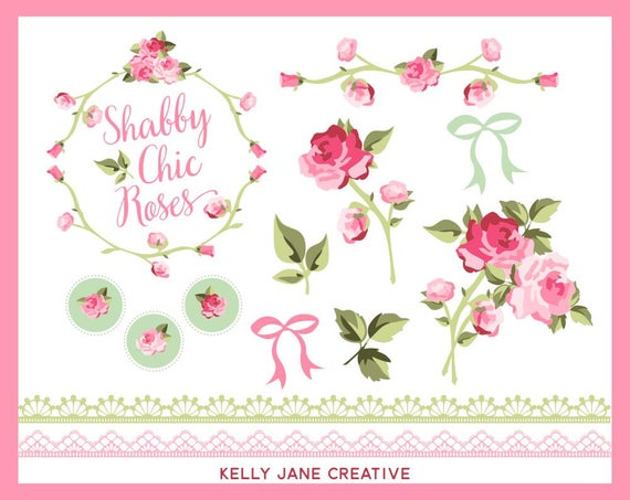 Rose clipart shabby chic. Vector floral lace wedding