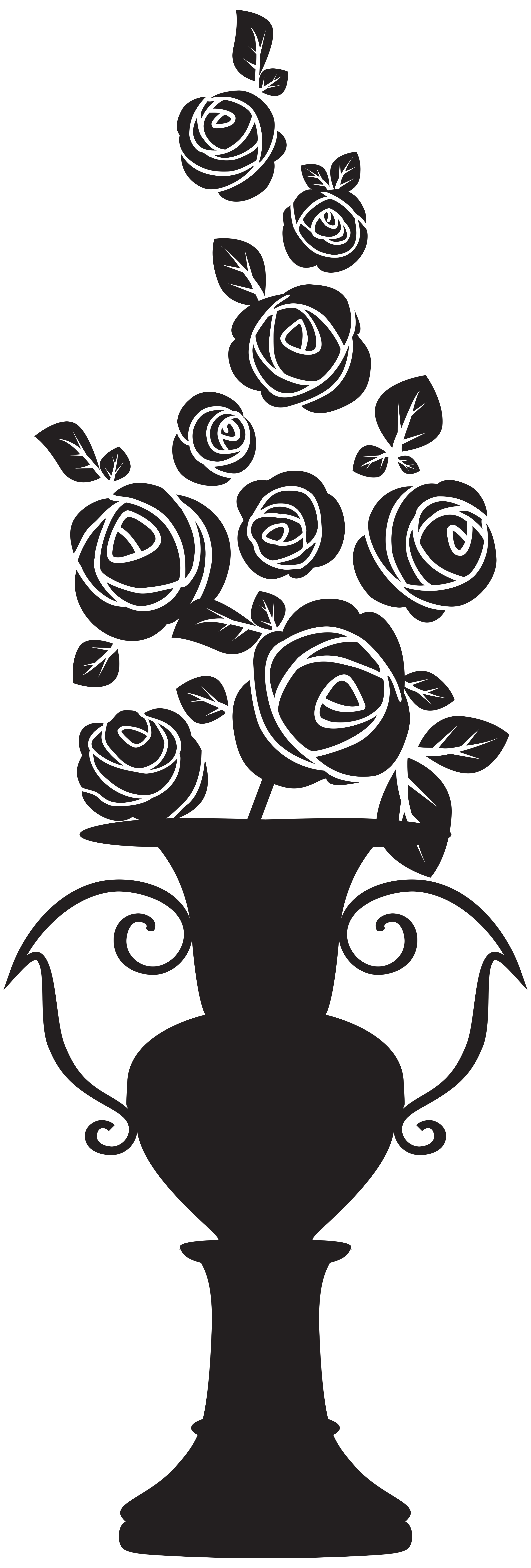 Clipart rose silhouette. Vase with roses png