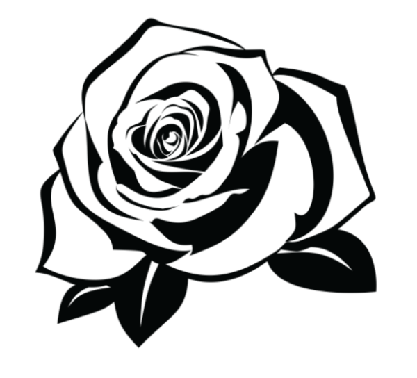 Black and white illustration. Clipart rose silhouette
