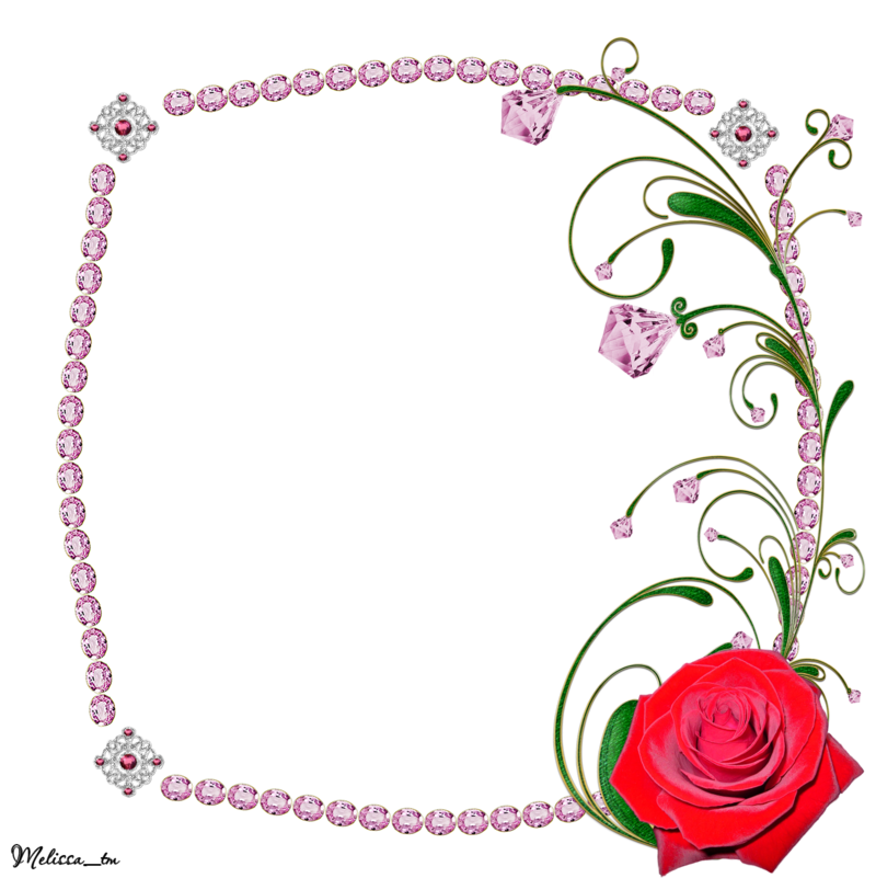 Clipart rose swirl. Frame from pink gems