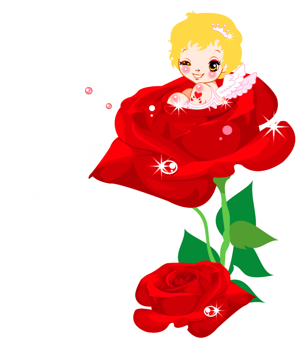 Rose clipart cute. Valentines cupid and png