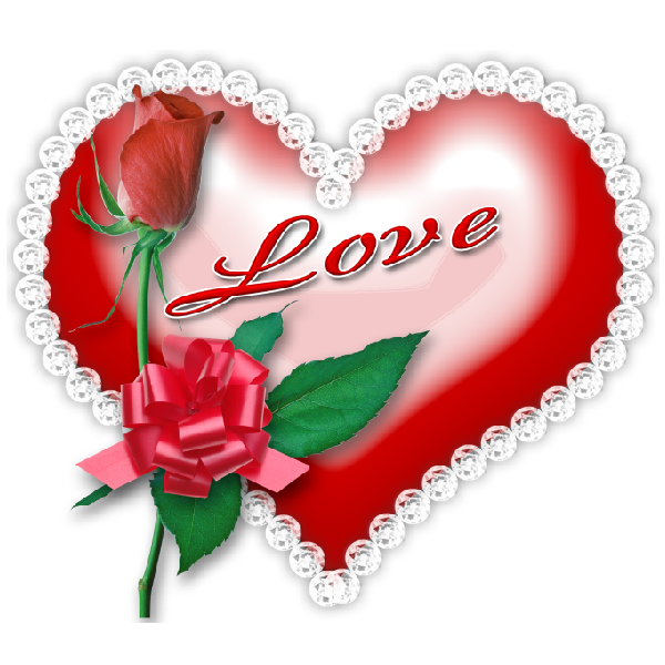 Red love heart and. Clipart rose valentines