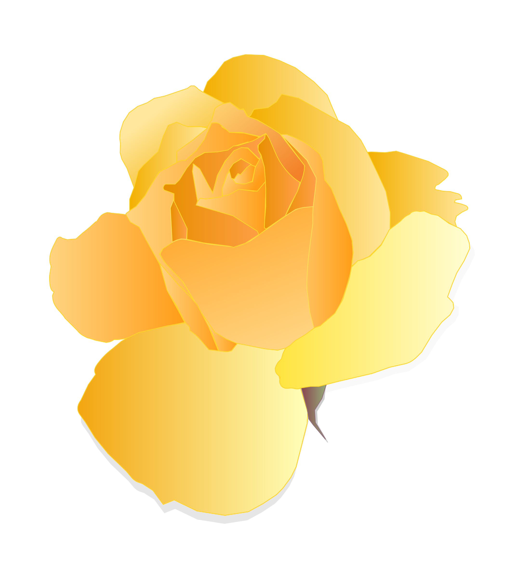 Clipart - Yellow Rose