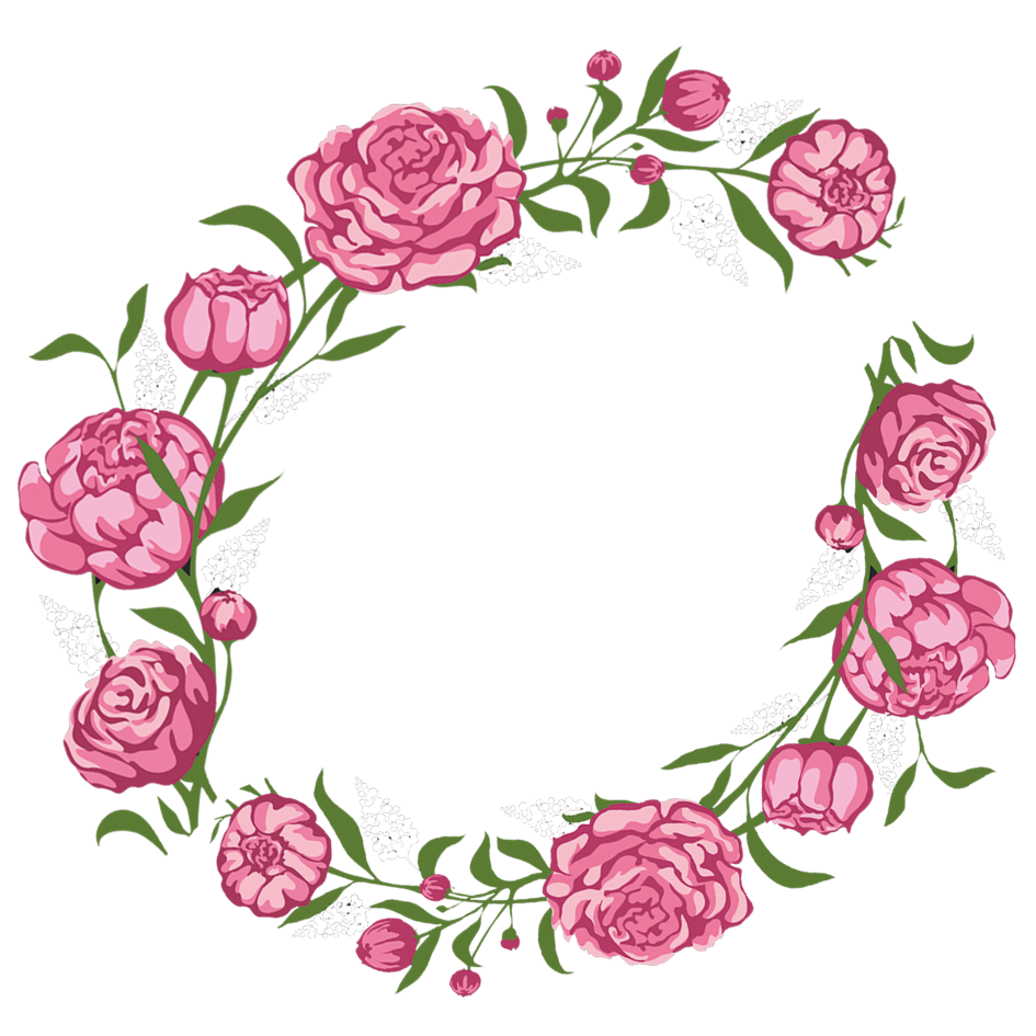 Clipart roses aesthetic. Rose flower pink wreath