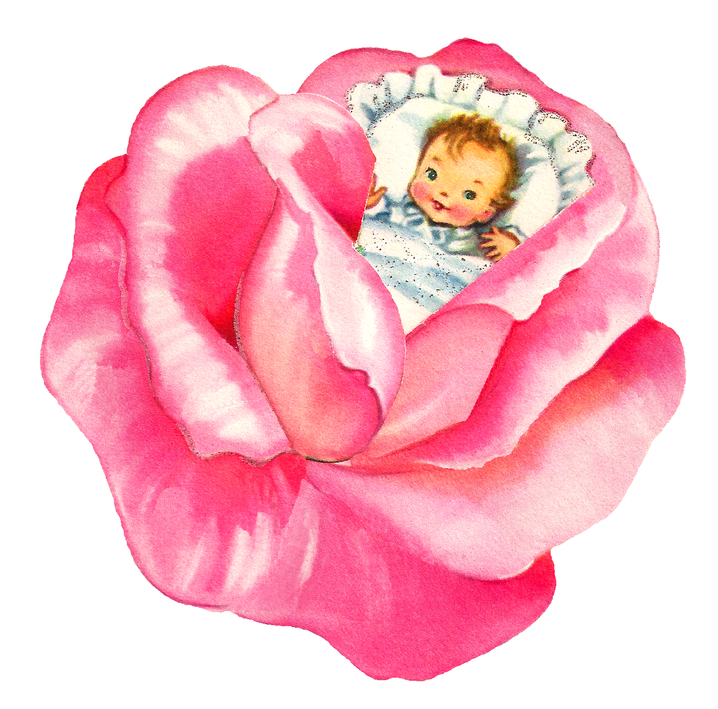 Antique images girl pink. Clipart roses baby
