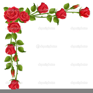Red rose border free. Clipart roses boarder