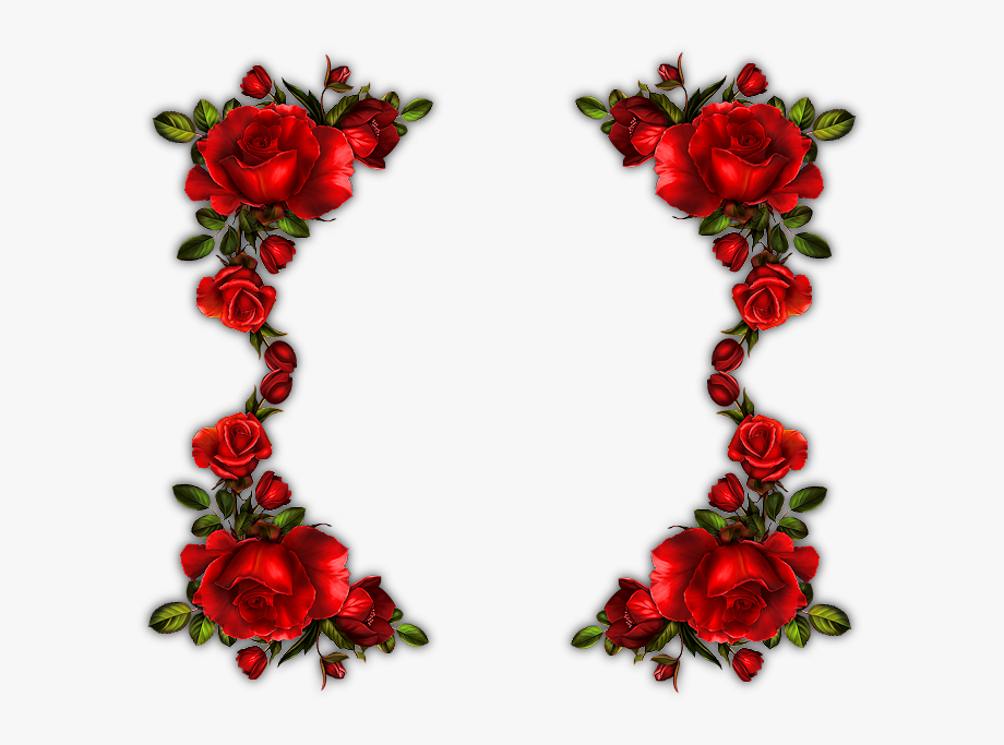 Garden flower bouquet floral. Clipart roses boarder