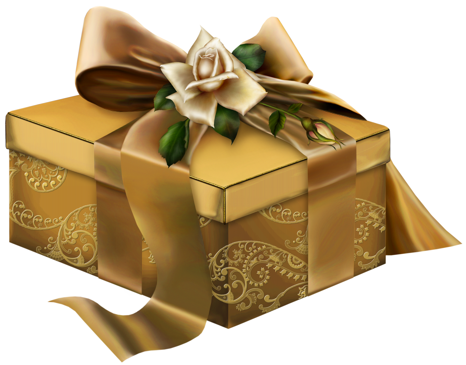 Clipart roses chocolate. Gold d present with