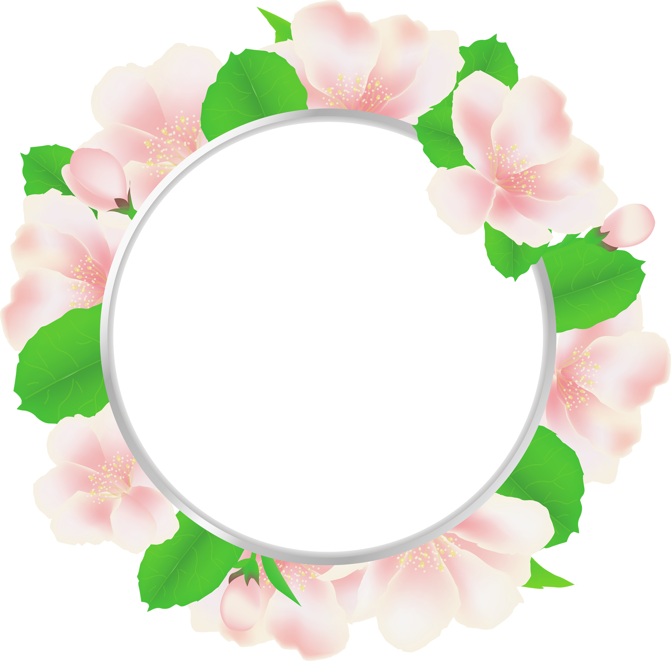 Large transparent round frame. Clipart roses circle