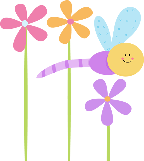 Pretty clip art free. Flower clipart dragonfly
