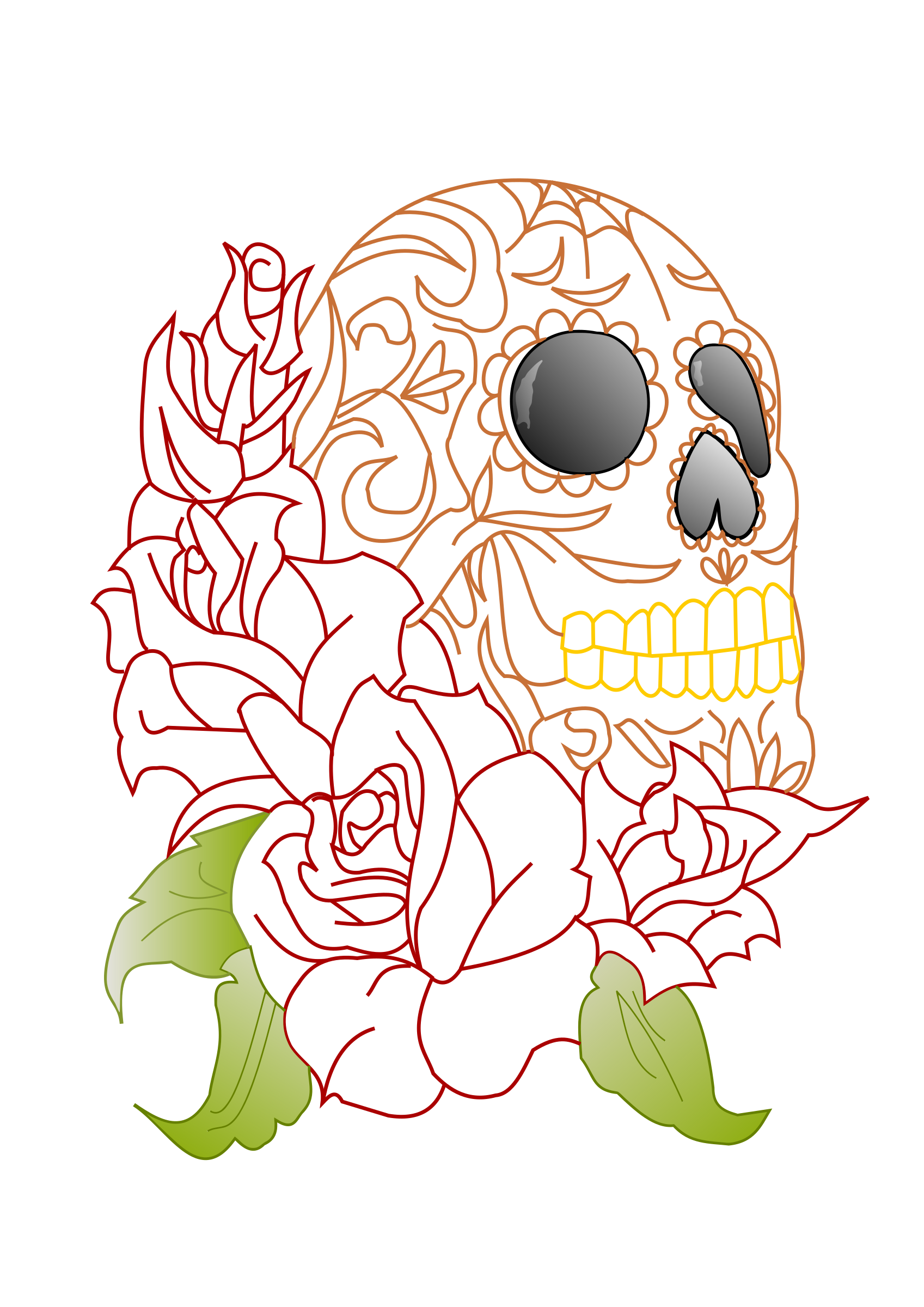 Sugar skull big image. Clipart roses dead rose