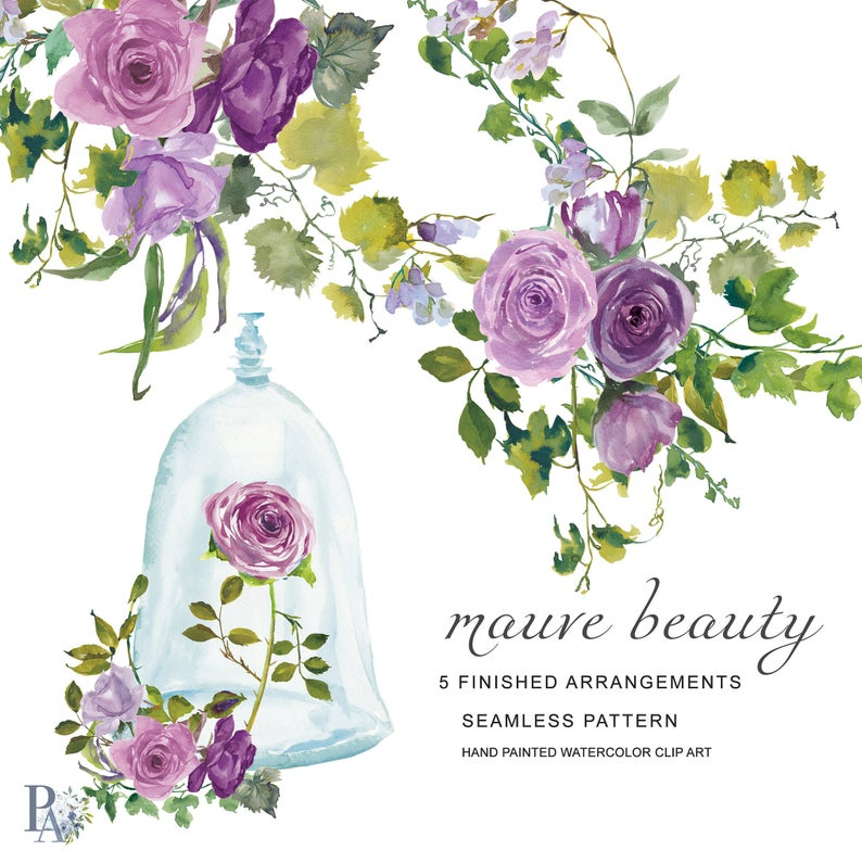 Clipart roses dome. Hand painted watercolor mauve